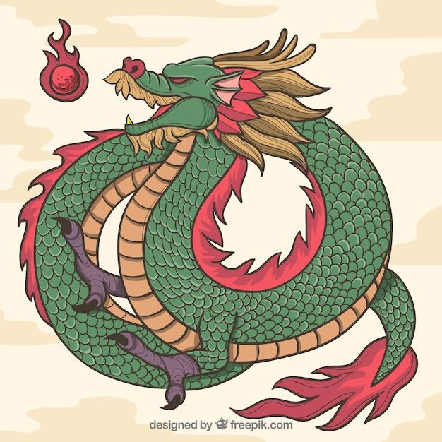 Рисованный традиционный китайский дракон Premium векторы