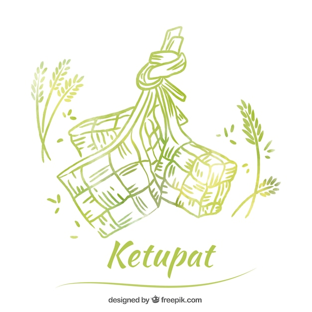 Hand drawn traditional ketupat composition Free Vector