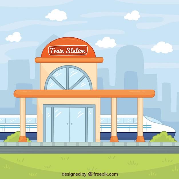 Hand-drawn train station background