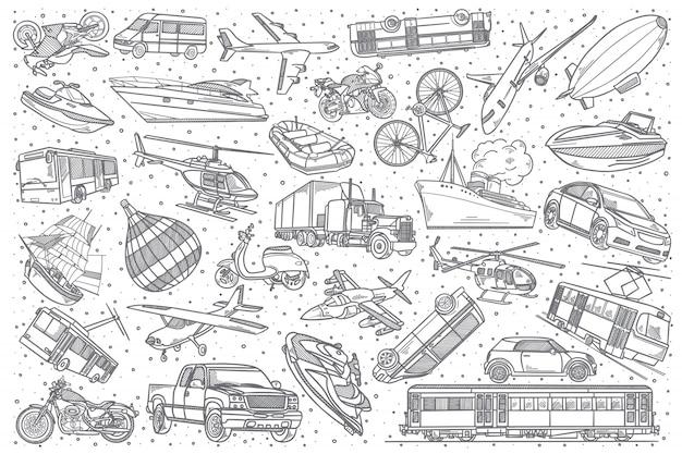Hand drawn transport doodle set. Premium Vector