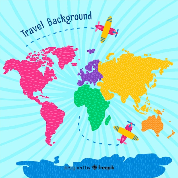 Hand drawn travel background Free Vector