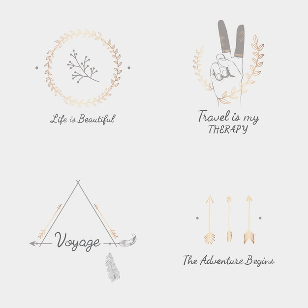Hand drawn travel design collection Free Vector
