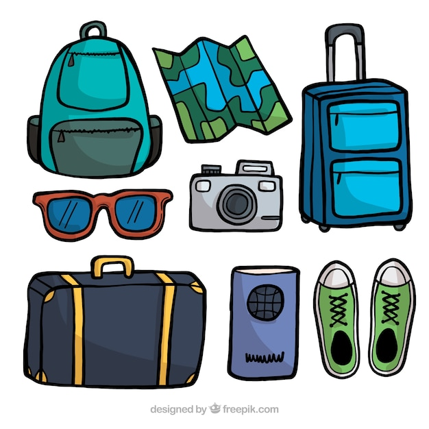 Hand drawn travel element collection Free Vector