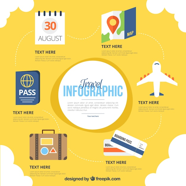 Hand drawn travel infographics elements Free Vector