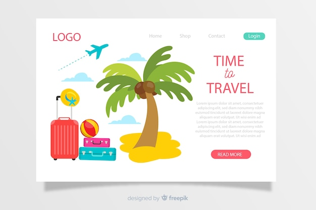 Hand drawn travel landing page template Free Vector