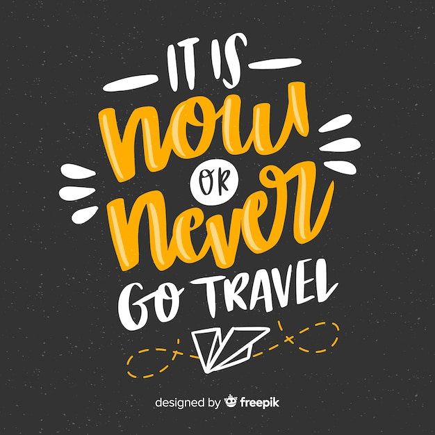 Hand drawn travel lettering background Free Vector