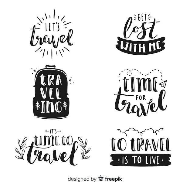 Hand drawn travel lettering badges Free Vector