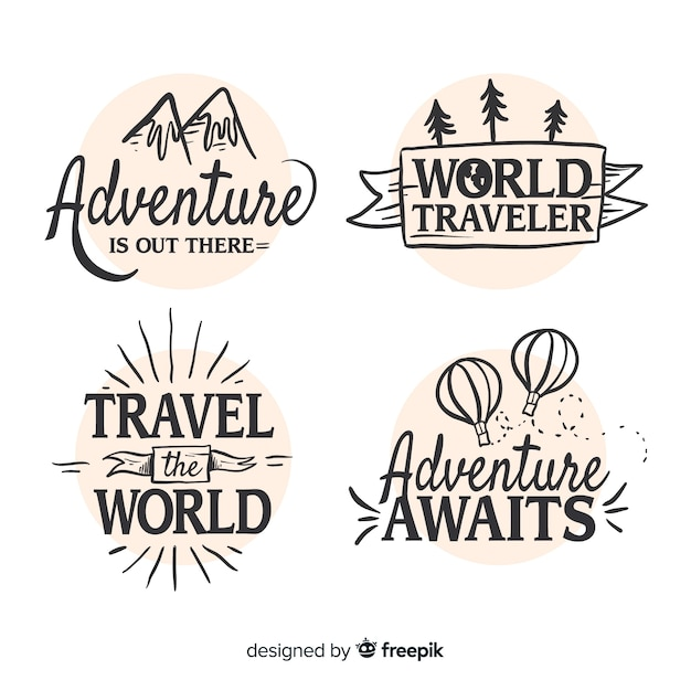 Hand drawn travel logo collection Free Vector
