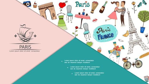 Composizione di viaggio a parigi disegnata a mano Vettore gratuito