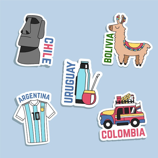 Hand drawn travel sticker collection Free Vector