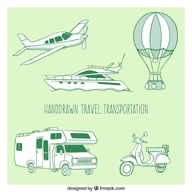 Hand drawn travel transportation pack