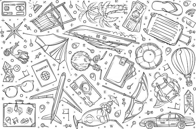 Hand drawn travel, vacation set doodle  background Premium Vector