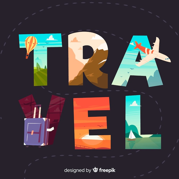 Hand drawn travel word background Free Vector