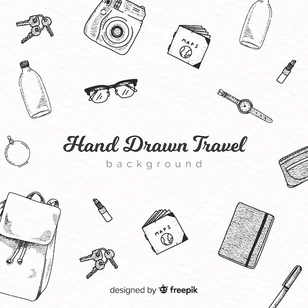 Hand drawn travel Free Vector