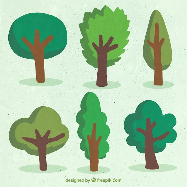 Hand drawn tree collection Free Vector