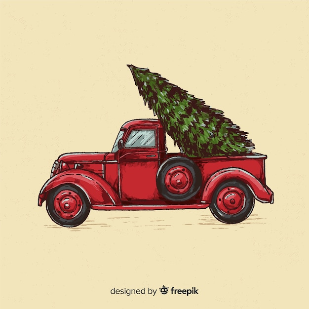 hand drawn tree delivery truck christmas background 23 2148009069
