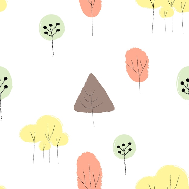 手描きの木の落書きカラフルなシームレスパターン Premiumベクター