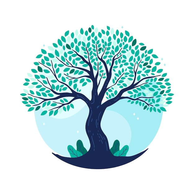 Hand drawn tree life in blue tones Free Vector