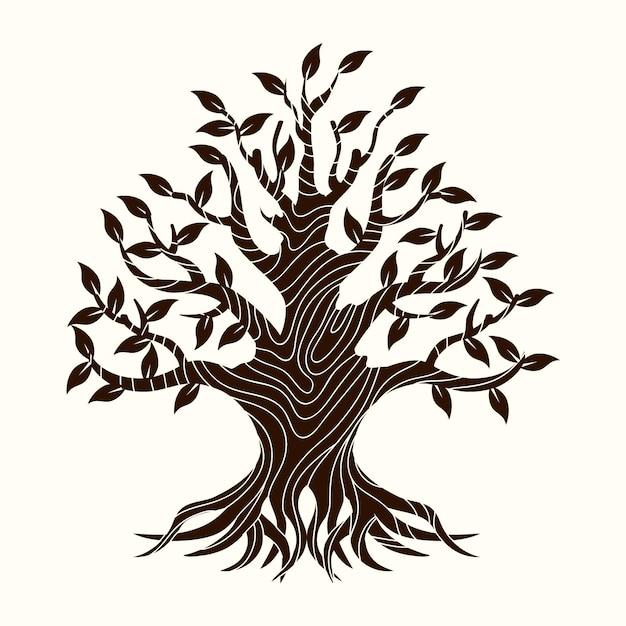 Hand-drawn tree life concept Free Vector