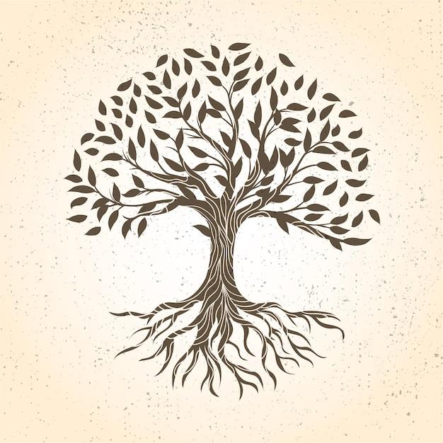 Ручной обращается дерево жизни в коричневых тонах Бесплатные векторы