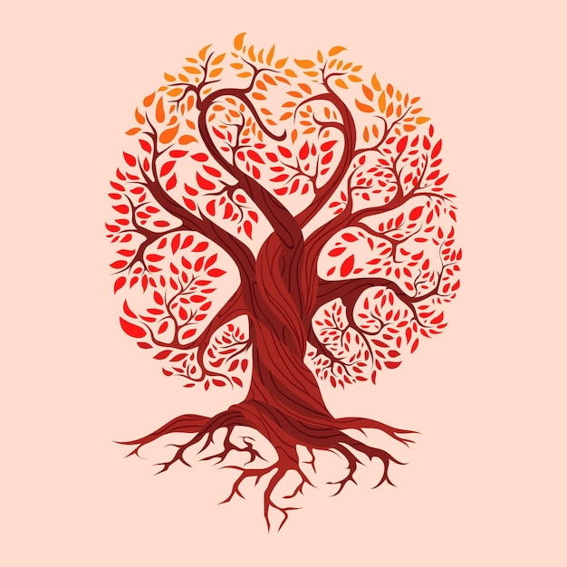 Hand drawn tree life meaning Free Vector