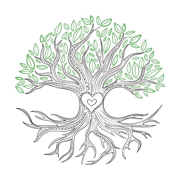 Hand-drawn tree life style Free Vector