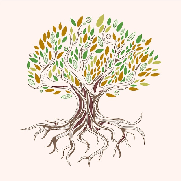 Hand drawn tree life with green and brown leaves Free Vector