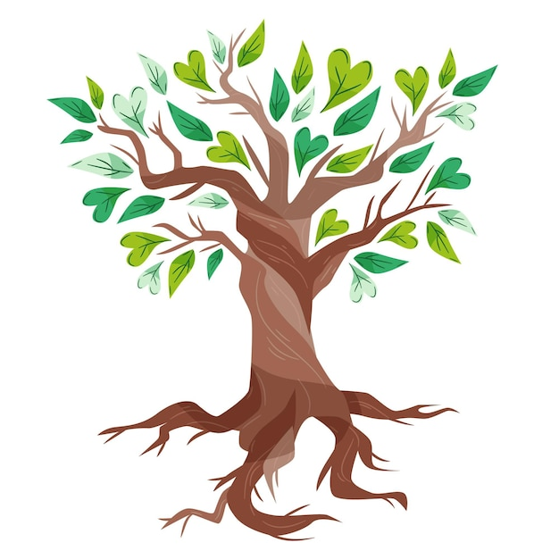 Hand drawn tree life with green lovely leaves Free Vector