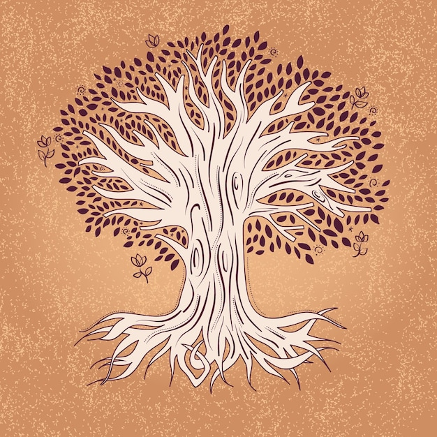 Hand drawn tree life with leaves Free Vector