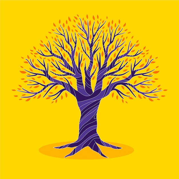 Hand drawn tree life on yellow background Free Vector