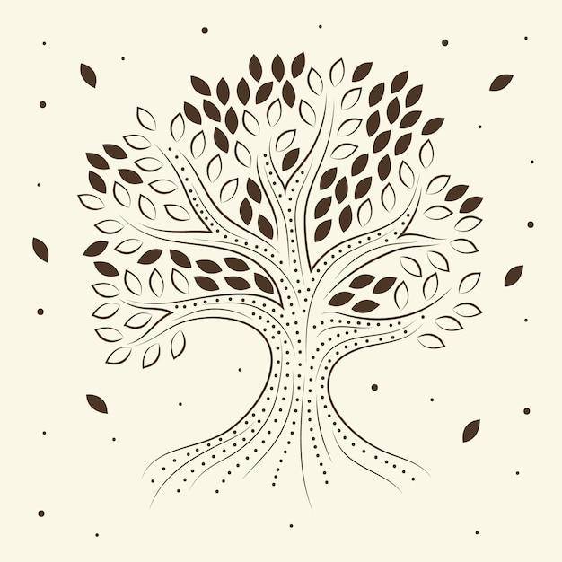 Vita dell'albero disegnato a mano Vettore gratuito