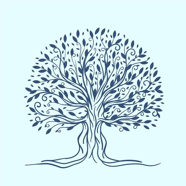 Рисованная жизнь дерева Бесплатные векторы