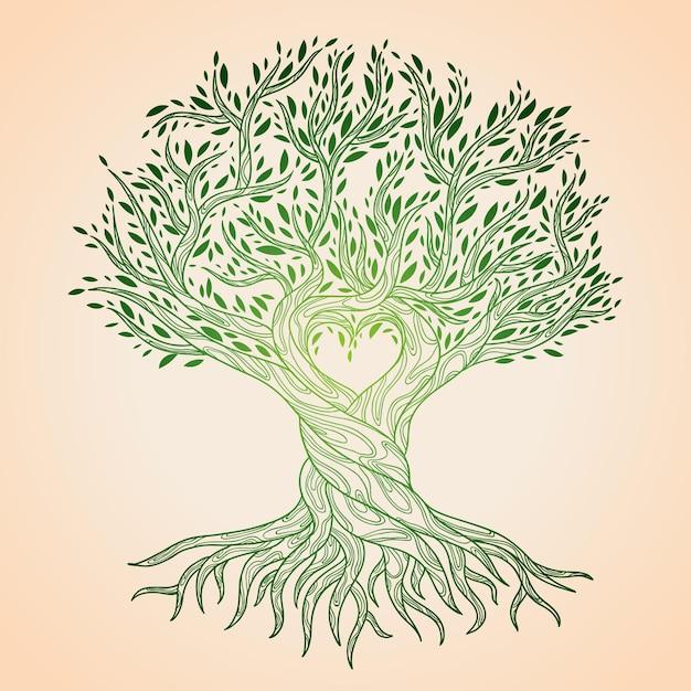 Hand drawn tree life Free Vector