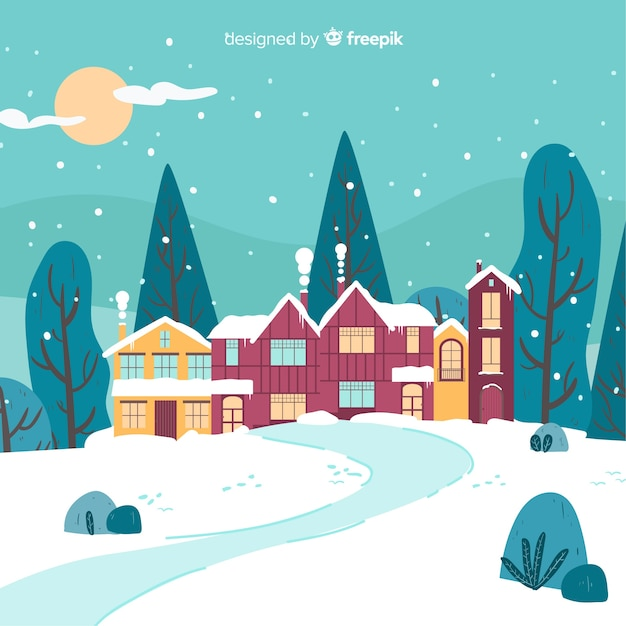 Hand drawn trees winter background Free Vector