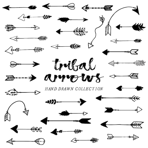 hand drawn tribal arrows collection vector free download rh freepik com Simple Arrow Vector tribal arrow clipart vector