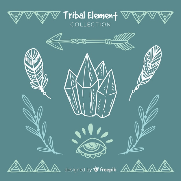 Hand drawn tribal element collection Free Vector
