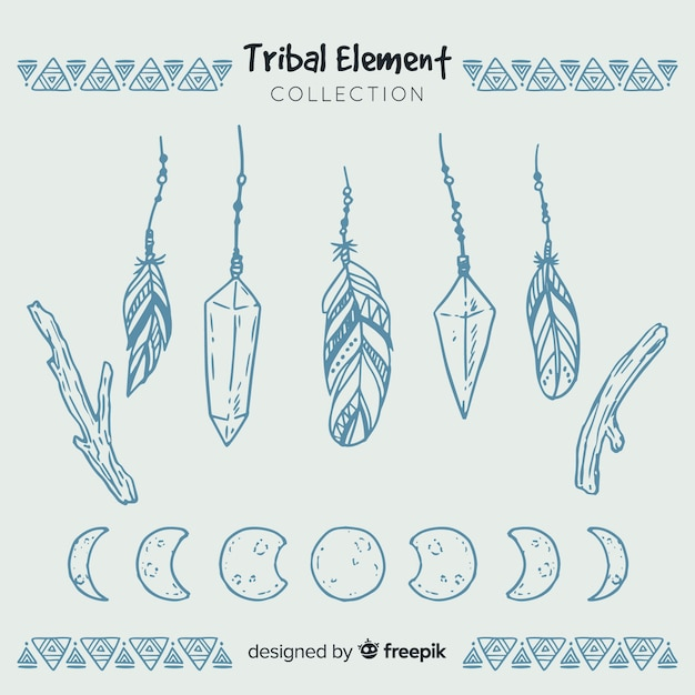 Hand drawn tribal feather collection Free Vector