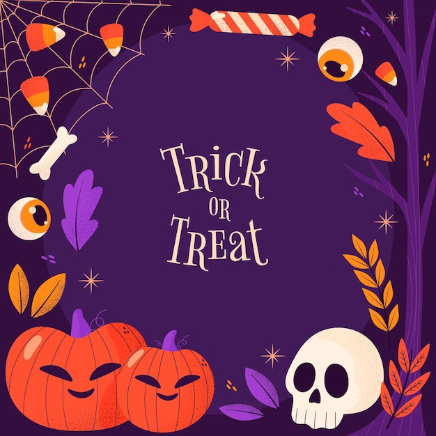 Hand drawn trick or treat halloween frame Free Vector