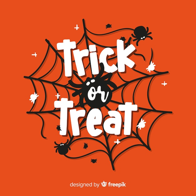 Hand drawn trick or treat lettering background Free Vector
