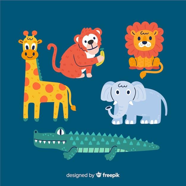 手描きの熱帯動物コレクション 無料ベクター