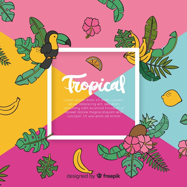Hand drawn tropical background Free Vector