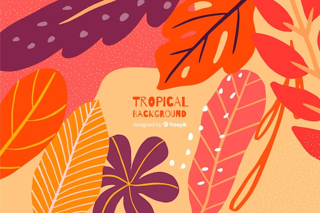 Hand drawn tropical colorful leaves background Free Vector