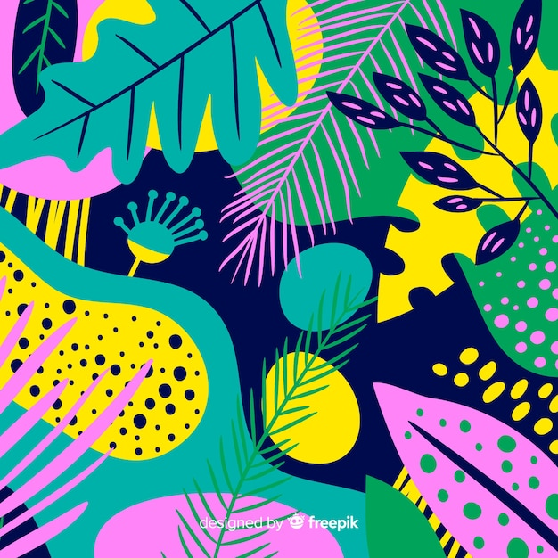 Hand drawn tropical floral background Free Vector