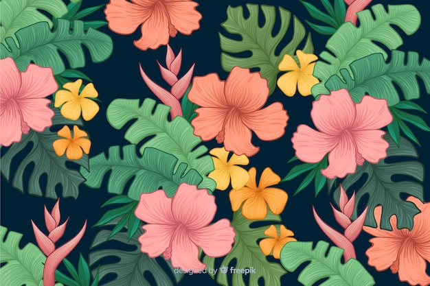 Hand drawn tropical flowers background Free Vector
