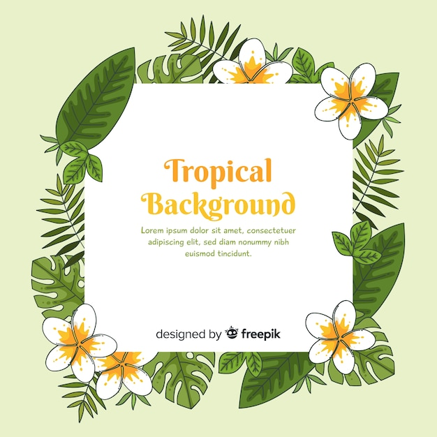 Hand drawn tropical flowers frame background Free Vector