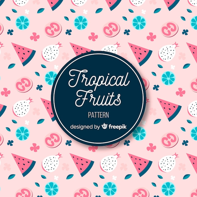 Hand drawn tropical fruits and flowers pattern Free Vector