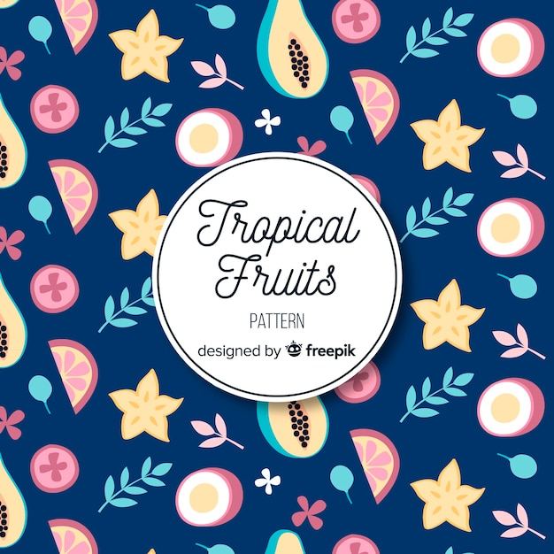 Hand drawn tropical fruits and leaves pattern Free Vector