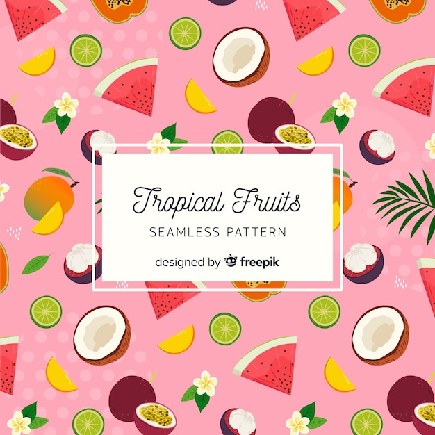 Hand drawn tropical fruits pattern Free Vector