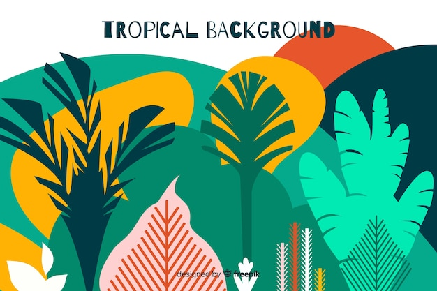 Hand drawn tropical landscape background Free Vector