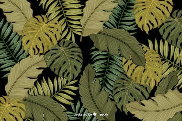 手描きの熱帯の葉の背景 無料ベクター